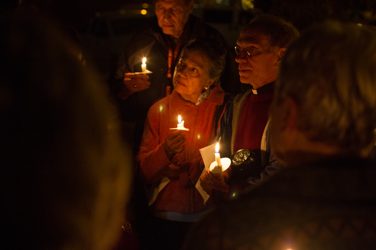 A candlelit vigil against the death penalty, held outside the Texas State Penitentiary at Huntsville on Dec. 16, 2016. (CNS photo/James Ramos, Texas Catholic Herald)