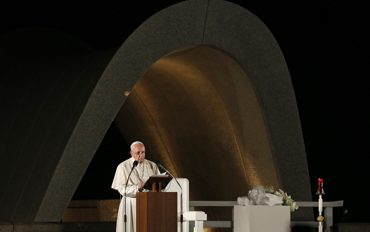 Pope Francis speaks during a meeting for peace at the Hiroshima Peace Memorial in Hiroshima, Japan, Nov. 24, 2019.