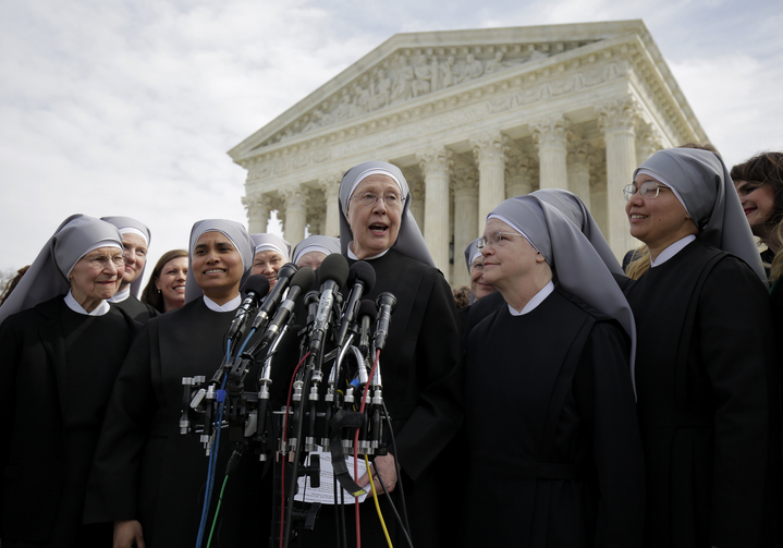 07.08.2020 In this 2016 file photo, Sister Loraine Marie Maguire, mother provincial of the Denver-based Little Sisters of the Poor, speaks to the media outside the U.S. Supreme Court in Washington. (CNS photo/Joshua Roberts, Reuters)