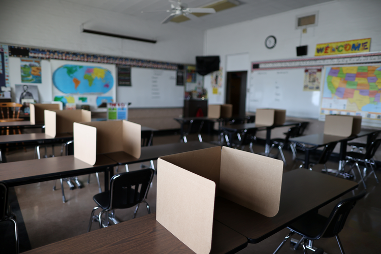 Social-distancing dividers for students at St. Benedict School in Montebello, Calif., on July 14, 2020. (CNS photo/Lucy Nicholson, Reuters)