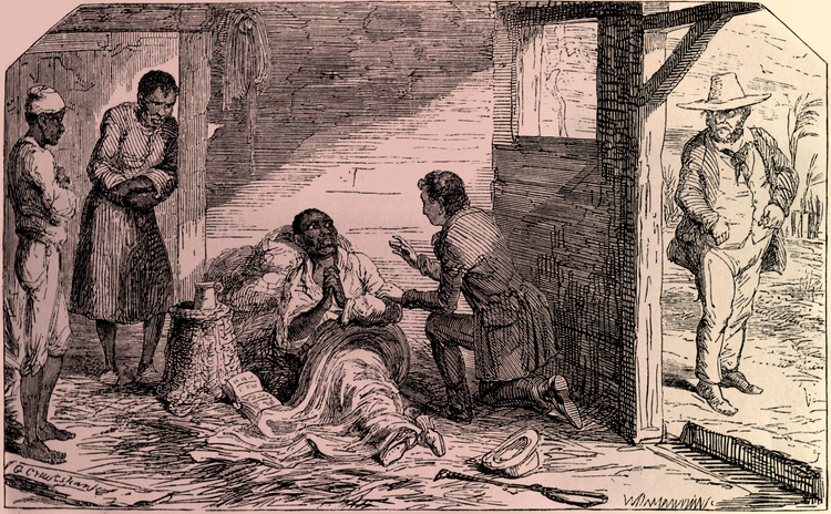 An illustration of the death of Uncle Tom from Harriet Beecher Stowe's Uncle Tom's Cabin (Illustration: Etching by George Cruikshank, 1852/Alamy).