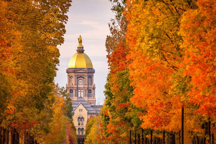 The University of Notre Dame in Indiana, seen in 2019. The university announced on Aug. 18 that in-person classes will be replaced by remote instruction for two weeks. (CNS photo/Matt Cashore, USA TODAY NETWORK via Reuters)