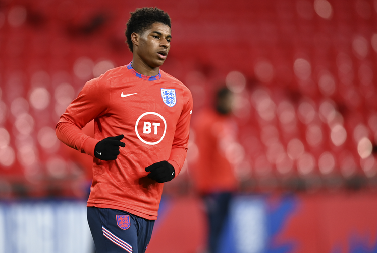 England's Marcus Rashford warms up ahead of their UEFA Nations League soccer match against Denmark at Wembley Stadium in London on Oct. 14. (Daniel Leal-Olivas/Pool via AP, file)