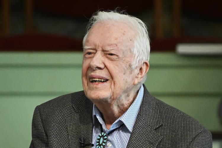 In this Nov. 3, 2019, photo, former President Jimmy Carter teaches Sunday school at Maranatha Baptist Church in Plains, Ga. (AP Photo/John Amis, File)