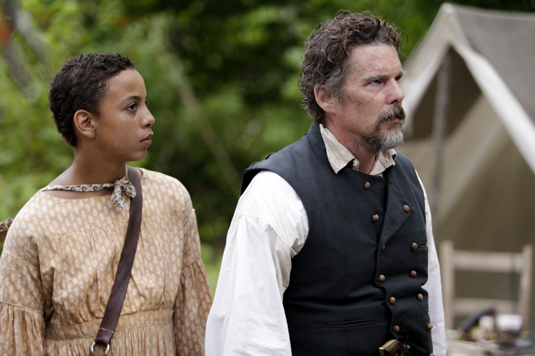 "Joshua Caleb Johnson and Ethan Hawke in ""The Good Lord Bird"" on Showtime. (CNS photo/William Gray, Showtime)"