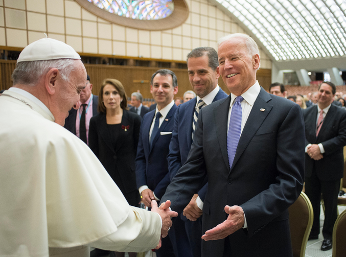 Pope Francis greets then-U.S. Vice President Joe Biden at the Vatican in this April 29, 2016, file photo. Church and diplomatic experts are assessing how U.S.-Vatican diplomacy will change with Biden, as U.S. president. He is the second Catholic elected to the nation's highest office in U.S. history. (CNS photo/L'Osservatore Romano)