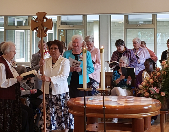 Sisters of St. Joseph of Peace participate in a June 22, 2019, Jubilee liturgy at the St. Mary-on-the-Lake Chapel in Bellevue, Wash. The care of retired women religious has become more challenging amid the coronavirus pandemic. (CNS photo/courtesy Sisters of St. Joseph of Peace)