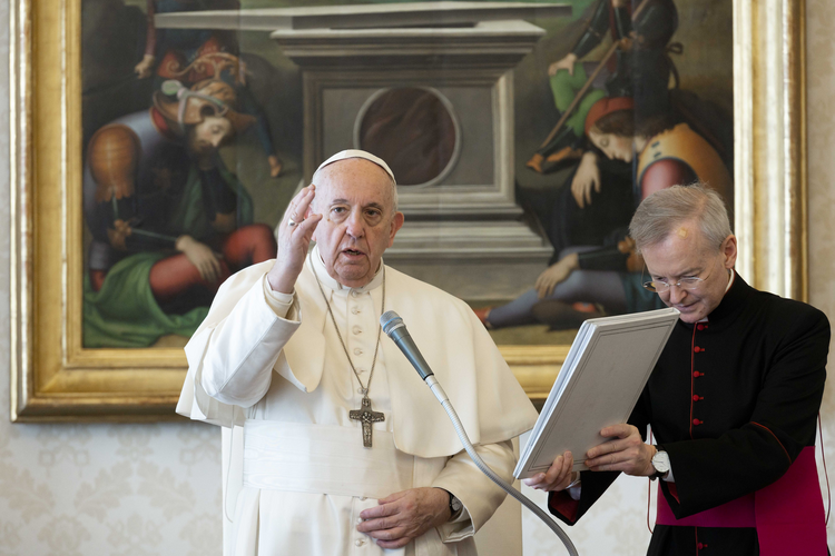 Pope Francis speaks during his general audience as it is livestreamed from the library of the Apostolic Palace at the Vatican March 18, 2020. (CNS photo/Vatican Media)