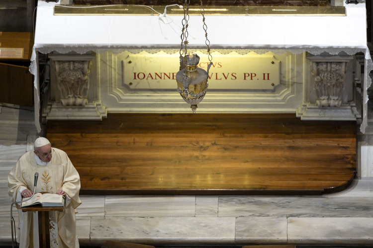 Pope Francis gives the homily at Mass at the tomb of St. John Paul II in St. Peter's Basilica May 18, 2020, the 100th anniversary of the late pope's birth. (CNS photo/Vatican Media)