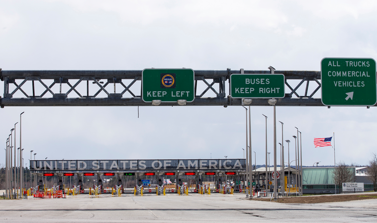 The U.S.-Canada border crossing in Lacolle, Canada. The Trump administration is scheduled to formally publish more stringent asylum rules June 15 and allow 30 days for public comment. (CNS photo/Christinne Muschi, Reuters)
