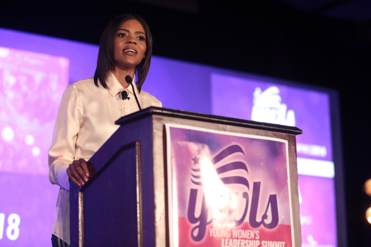 The political commentator Candace Owens, one of the Black Republicans who became more prominent during the Trump administration, speaks at the 2018 Young Women's Leadership Summit, in Dallas. (Gage Skidmore, Peoria, Ariz., via Wikimedia Commons)