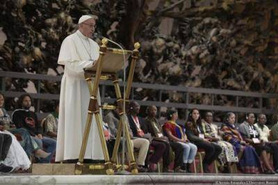 The most-read article of 2016 was on the remarks by Pope Francis at the popular movements gathering at the Vatican on Nov. 5, only a few days before the American presidential election. (L'Osservatore Romano/Pool Photo via AP)