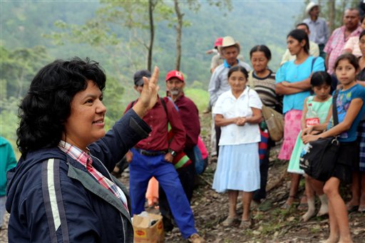 Berta Caceres speaks to people near the Gualcarque river located in the Intibuca department of Honduras. (Tim Russo/Goldman Environmental Prize via AP)