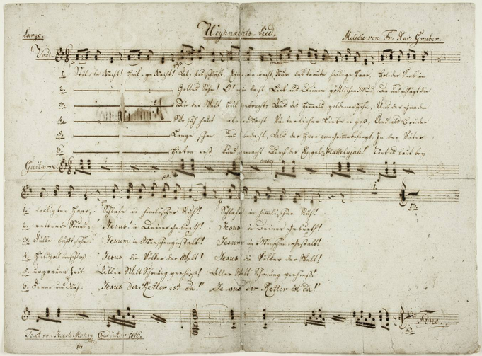 A handwritten score for 'Silent Night,' autographed by the song's author, the Rev. Joseph Mohr (photo: Salzburg Museum).