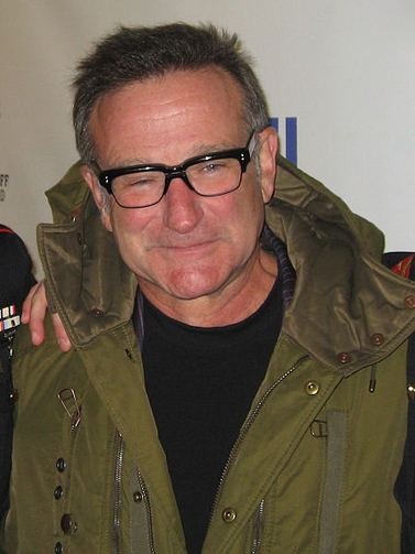 "Robin Williams at ""Stand Up for Heroes,"" a comedy and music benefit for injured U.S. servicemen. (Photo via Wikimedia Commons)"