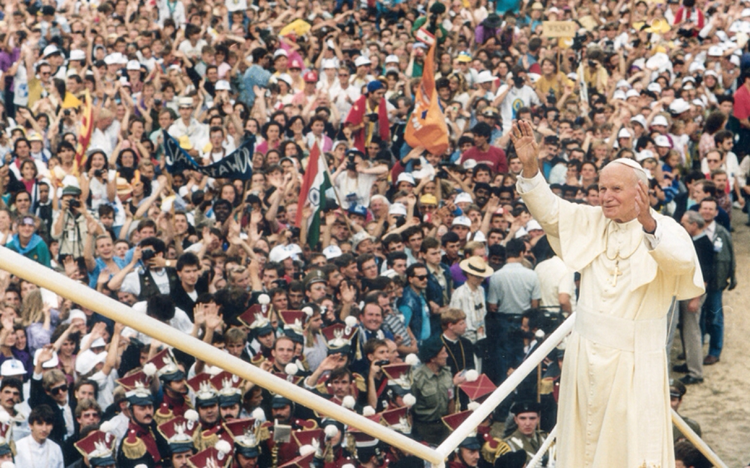 Pope John Paul II in Poland for World Youth Day 1991. (Wikimedia)