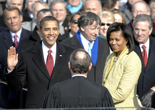 Barack Obama takes the oath of office for the presidency on January 20, 2009. (Master Sgt. Cecilio Ricardo, U.S. Air Force, via Wikimedia Commons)