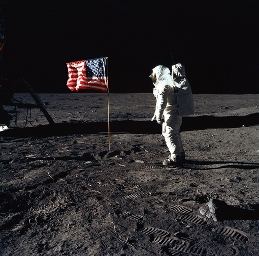 Astronaut Buzz Aldrin, man on the moon, July 21, 1069. Photo courtesy of NASA.