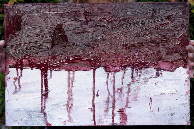 Myuran Sukumaran's final painting, of the Indonesian flag bleeding