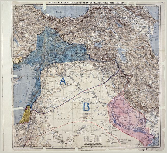 Map of Sykes–Picot Agreement showing Eastern Turkey in Asia, Syria and Western Persia, and areas of control and influence agreed between the British and the French. Royal Geographical Society, 1910-15. (Photo via Wikimedia Commons)