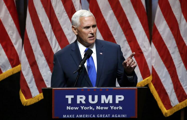Indiana Gov. Mike Pence addresses a July 16, 2016 news conference in New York where he was introduced as the vice presidential running mate of Republican U.S. presidential candidate Donald Trump (CNS photo/Carlo Allegri, Reuters).