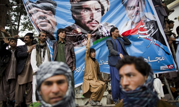Supporters rally for presidential candidate Abdullah Abdullah before Afghan election. (Behrouz Mehri/AFP/Getty Images)