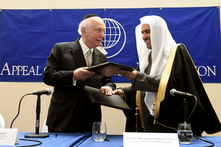 Rabbi Arthur Schneier and Dr. Mohammad Abdulkarim Al-Issa (Diane Bondareff for Appeal of Conscience Foundation)
