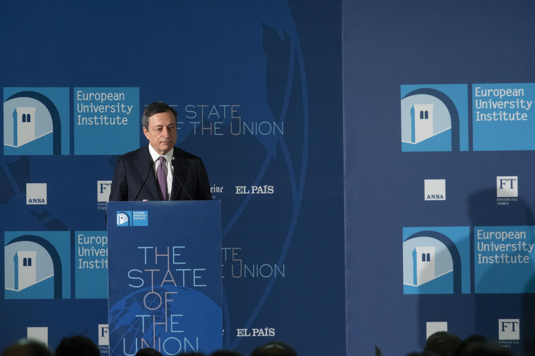 Mario Draghi, President of the European Central Bank, delivers his speech during the State of the Union conference organized by the European University Institute in Florence, Italy, Friday, May 11, 2018. (Claudio Giovannini/ANSA via AP)