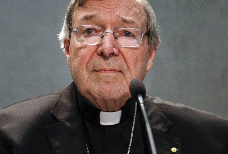 Cardinal George Pell meets the media, at the Vatican. (AP Photo/Gregorio Borgia, File)