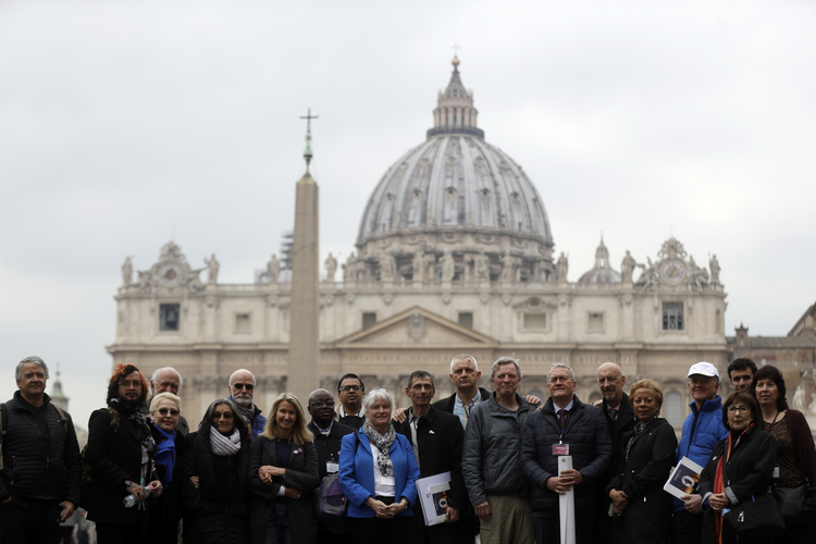 Members of the Ending of Clergy Abuse organization and survivors of clergy sex abuse outside St. Peter's Square on Feb. 18. (AP Photo/Gregorio Borgia)