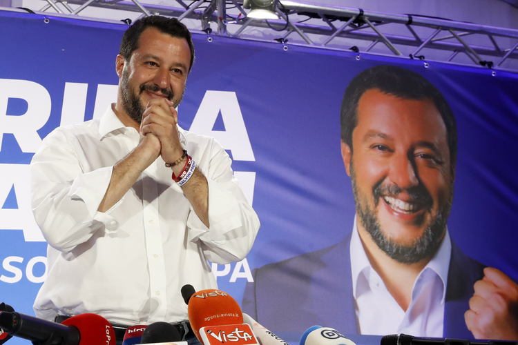 Italian Interior Minister and Deputy Prime Minister Matteo Salvini holds a press conference in Milan, Italy, on May 27, the day after elections for the European Parliament. (AP Photo/Antonio Calanni)