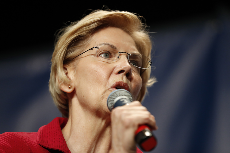 In this June 9, 2019, file photo, Democratic presidential candidate Elizabeth Warren speaks during the Iowa Democratic Party's Hall of Fame Celebration in Cedar Rapids, Iowa. (AP Photo/Charlie Neibergall)