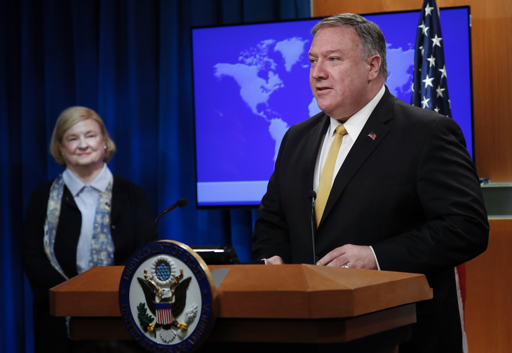Secretary of State Mike Pompeo, right, unveils the creation of Commission on Unalienable Rights, headed by Mary Ann Glendon, left, a Harvard Law School professor and a former U.S. Ambassador to the Holy See, during an announcement at the US State Department in Washington, Monday, July 8, 2019. (AP Photo/Pablo Martinez Monsivais)
