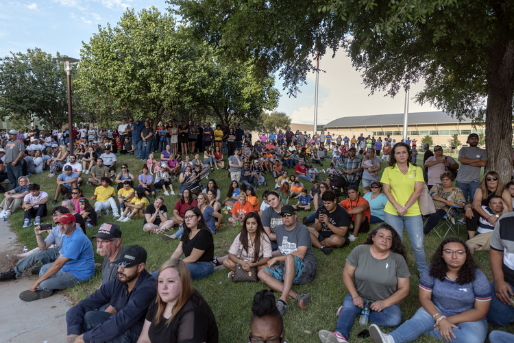 A vigil on Sept. 1, at the University of Texas of the Permian Basin, for victims of a shooting spree the day before in Odessa, Texas. (Jacy Lewis/Reporter-Telegram via AP)