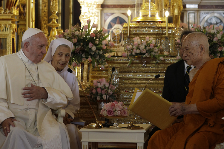 Pope Francis, left, and his cousin, Sister Ana Rosa Sivori visit the Supreme Buddhist Patriarch at Was Ratchabophit Sathit Maha Simaram Temple, Thursday, Nov. 21, 2019, in Bangkok, Thailand.