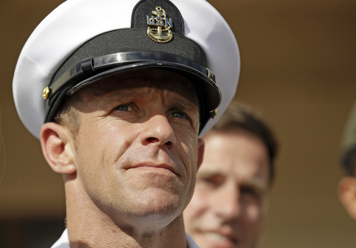 Navy SEALEdward Gallagher leaves a military court on Naval Base San Diego on July 2, 2019. (AP Photo/Gregory Bull, File)