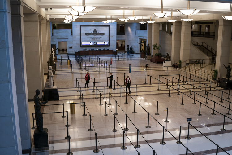 Queues prepared for tourists at the Capitol Visitor Center before organized visits were shut down in Washington, on March 12, 2020. (AP Photo/J. Scott Applewhite)