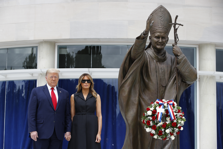 President Donald Trump and first lady Melania Trump visit the St. John Paul II National Shrine, in Washington, D.C., on June 2. (AP Photo/Patrick Semansky)