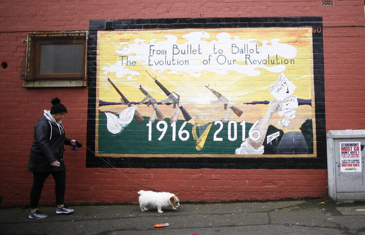 A Republican mural in West Belfast on March 2. A historic vote has upended the political landscape in Northern Ireland. (AP Photo/Peter Morrison)