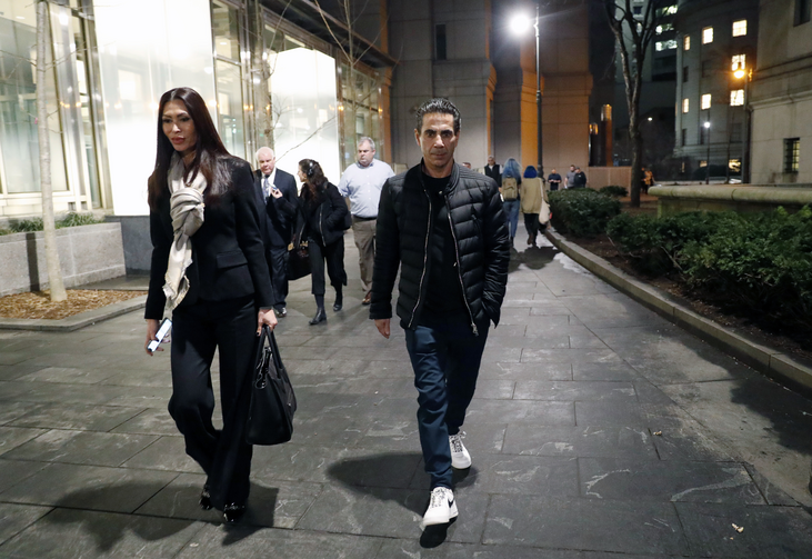 "Joseph ""Skinny Joey"" Merlino, right, leaves federal court in Lower Manhattan with his wife Deborah after a mistrial was declared in his racketeering case on Feb. 20, 2018 in New York. The author appears in the center background of the photo (AP Photo/Kathy Willens)."