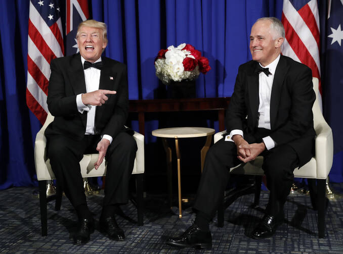In this May 4, 2017 photo, U.S. President Donald Trump, left, meets with Australian Prime Minister Malcolm Turnbull in New York (AP Photo/Pablo Martinez Monsivais).