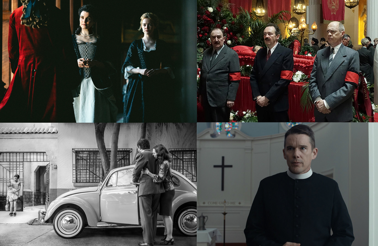 "Clockwise from top left: ""The Favourite,"" ""The Death of Stalin,"" ""First Reformed and ""Roma"""