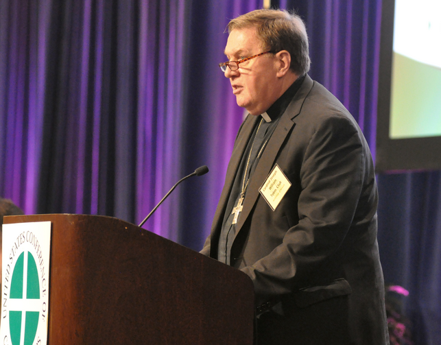 Cardinal Joseph W. Tobin of Newark, N.J., speaks June 14 of the opening day of the U.S. Conference of Catholic Bishops' annual spring assembly in Indianapolis. (CNS photo/Sean Gallagher, The Criterion)