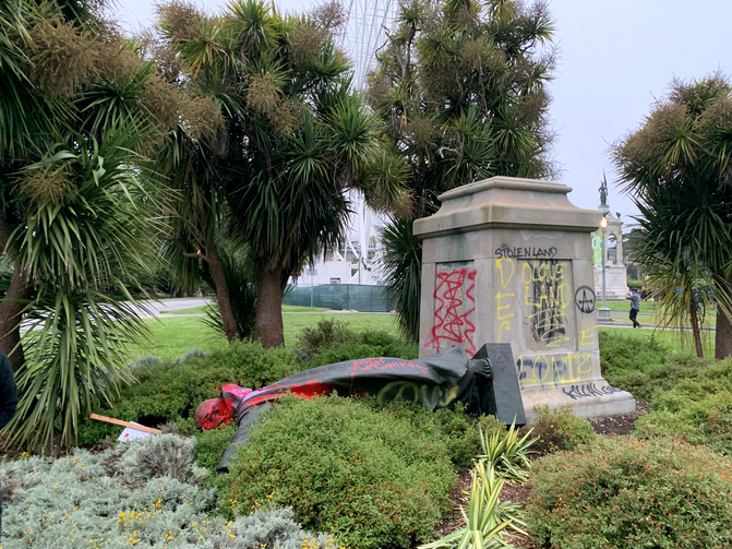 A vandalized statue of St. Junipero Serra in San Francisco is seen June 19, 2020. The Spanish Franciscan founded several missions in what is now California. (CNS photo/David Zandman via Reuters)