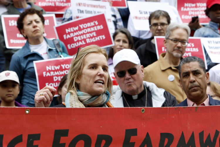 Human rights activist Kerry Kennedy speaks at a rally, May 21, 2016, at New York City Hall during the March for Farmworker Justice (CNS photo/Gregory A. Shemitz).