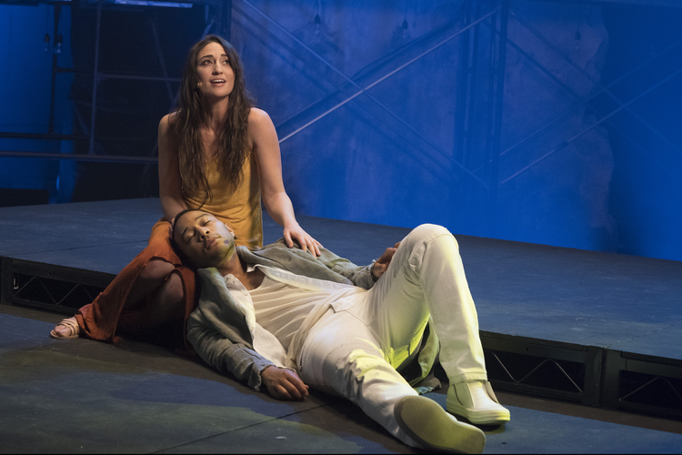 "Sara Bareilles portrays Mary Magdalene and John Legend is Christ in the NBC production of ""Jesus Christ Superstar Live in Concert,"" airing April 1. (CNS photo/Virginia Sherwood, courtesy NBC)"