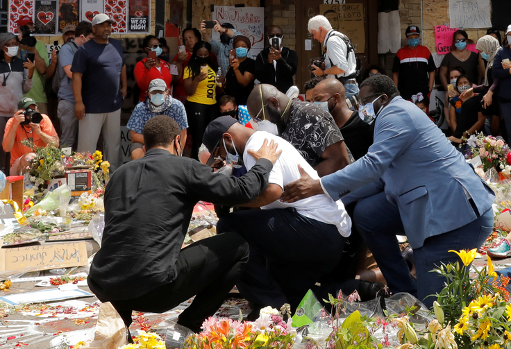 Terrence Floyd, the brother of George Floyd, reacts at a makeshift memorial at the spot where he was taken into custody in Minneapolis June 1, 2020. Demonstrations continue after a white police officer was caught on a bystander's video May 25 pressing his knee into the neck of George Floyd, an African American, who later died at a hospital. (CNS photo/Lucas Jackson, Reuters)