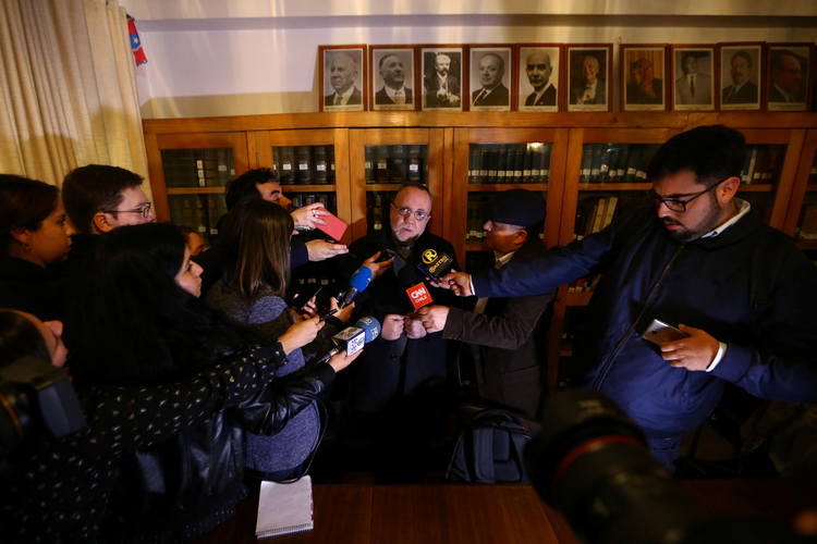 Chilean Father Francisco Astaburuaga Ossa talks with the media May 23 in Santiago after receiving an invitation to meet with Pope Francis at the Vatican to discuss the sexual abuse scandal. (CNS photo/Ivan Alvarado, Reuters)