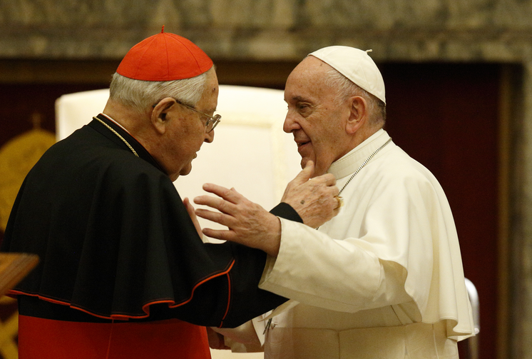 Pope Francis greets Cardinal Angelo Sodano, now dean emeritus of the College of Cardinals, during his annual audience to give Christmas greetings to members of the Roman Curia at the Vatican Dec. 21, 2019. (CNS photo/Paul Haring)