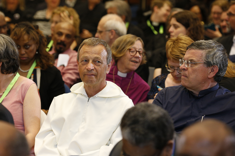 Brother Alois Leser, prior of the Taizé ecumenical community in France, is seen before the encounter at the World Council of Churches' ecumenical center in Geneva June 21. (CNS photo/Paul Haring)